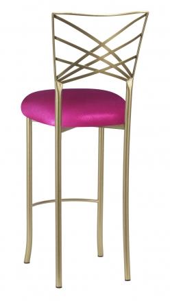 Gold Fanfare Barstool with Metallic Fuchsia Knit Cushion (1)