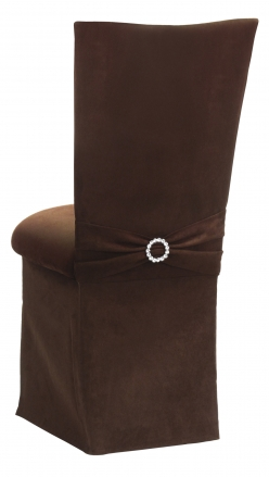 Chocolate Suede Chair Cover with Jewel Belt, Cushion and Skirt (1)