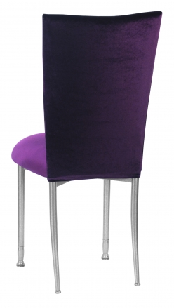 Eggplant Velvet Chair Cover and Cushion on Silver legs (1)
