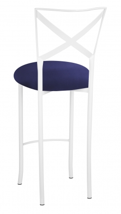 Simply X White Barstool with Navy Stretch Knit Cushion (1)