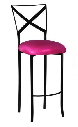 Blak. Barstool with Metallic Fuchsia Stretch Knit Cushion (2)