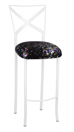 Simply X White Barstool with Black Paint Splatter Cushion (2)