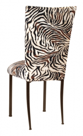 Zebra Stretch Knit Chair Cover and Cushion on Brown Legs (1)
