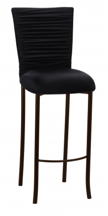 Chloe Black Stretch Knit Barstool Cover with Rhinestone Accent Band and Cushion on Brown Legs (2)