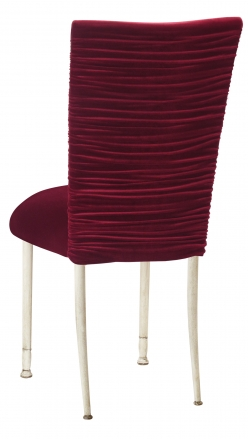 Chloe Cranberry Velvet Chair Cover and Cushion on Ivory Legs (1)