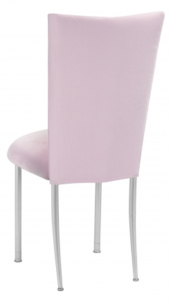 Soft Pink Velvet Chair Cover and Cushion on Silver Legs (1)