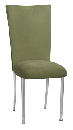 Sage Suede Chair Cover and Cushion on Silver Legs (2)