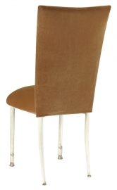 Gold Velvet Chair Cover and Cushion on Ivory Legs