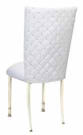 White Diamond Tufted Taffeta Chair Cover with White Suede Cushion on Ivory legs