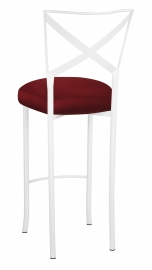 Simply X White Barstool with Burnt Red Dupioni Boxed Cushion