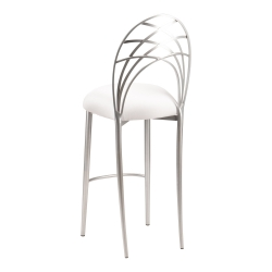 Silver Piazza Barstool with White Stretch Knit Cushion