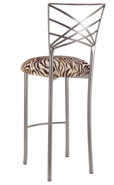 Silver Fanfare Barstool with Zebra Stretch Knit Cushion