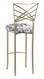 Gold Fanfare Barstool with White Paint Splatter Knit Cushion