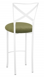 Simply X White Barstool with Olive Velvet Cushion
