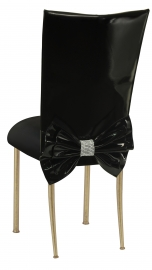 Black Patent Leather Chair Cover with Rhinestone Bow and Black Stretch Knit Cushion on Gold Legs