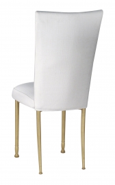 White Linette Chair Cover and Cushion on Gold Legs