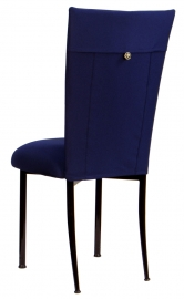 Navy Blue Chair Cover with Button and Cushion on Brown legs