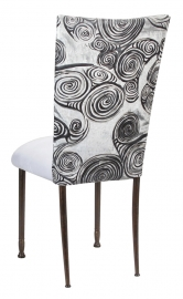 White Swirl Velvet Chair Cover with White Suede Cushion on Mahogany Legs
