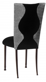 Hour Glass Sequin Chair Cover with Black Velvet on Mahogany Legs