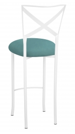 Simply X White Barstool with Turquoise Suede Cushion