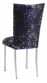 Black Paint Splatter Chair Cover and Cushion on Silver Legs