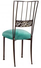 Mahogany Bella Fleur with Turquoise Velvet Cushion