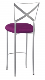 Silver Simply X Barstool with Orchid Taffeta Boxed Cushion