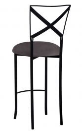 Blak. Barstool with Charcoal Suede Cushion