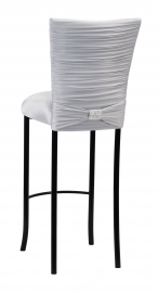 Chloe Silver Stretch Knit Barstool Cover with Rhinestone Accent Band and Cushion on Black Legs