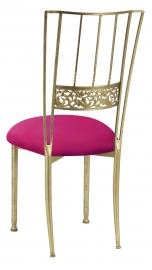 Gold Bella Fleur with Fuchsia Stretch Knit Cushion