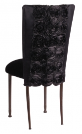 Black Rosette Chair Cover with Black Velvet Cushion on Mahogany Legs