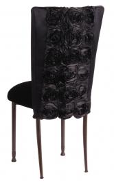 Black Rosette Chair Cover with Black Velvet Cushion on Mahogany Legs