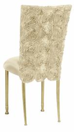 Ivory Rosette Chair Cover with Ivory Stretch Knit Cushion on Gold Legs