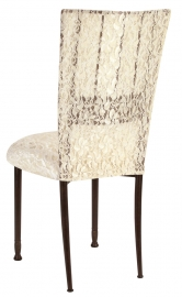 Mahogany Bella Fleur with Ivory Lace Chair Cover and Ivory Lace over Ivory Stretch Knit Cushion