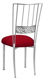 Silver Bella Fleur with Red Stretch Knit Cushion