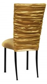 Gold Demure Chair Cover with Gold Stretch Knit Cushion on Black Legs