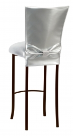 Silver Patent Barstool 3/4 Chair Cover with Rhinestone Accent Belt and Metallic Silver Stretch Knit Cushion on Brown Legs