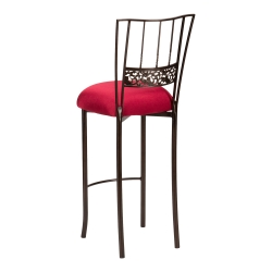 Bella Fleur Mahogany Barstool with Cranberry Stretch Knit Cushion