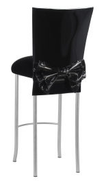 Black Patent Barstool Cover with Bow Belt and Cushion on Silver Legs