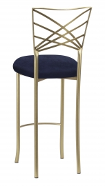 Gold Fanfare Barstool with Navy Blue Suede