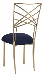 Gold Fanfare with Navy Blue Suede Cushion
