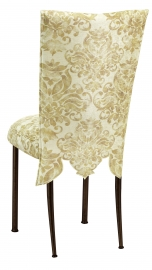 Ravena Chenille Empire Cut Chair Cover with Boxed Cushion on Brown Legs