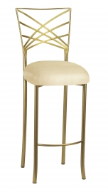 Silver Fanfare Barstool with Champagne Metallic Knit Cushion