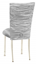 Silver Demure Chair Cover with Jeweled Band and Silver Stretch Knit Cushion on Ivory Legs