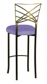 Two Tone Fanfare Barstool with Lavender Velvet Cushion