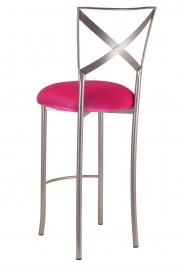 Simply X Barstool with Fuchsia Velvet Cushion