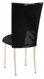 Black Patent Leather Chair Cover with Black Knit Stretch Knit Cushion on Ivory Legs