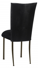 Matte Black Croc Chair Cover with Black Stretch Knit Cushion on Brown Legs