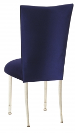 Navy Stretch Knit Chair Cover with Cushion on Ivory Legs