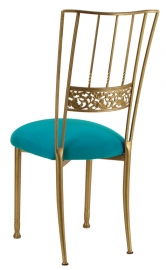 Gold Bella Fleur with Turquoise Suede Cushion